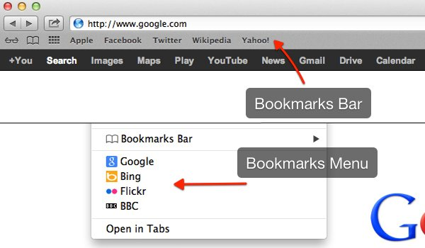 You can view your saved bookmarks via the Bookmarks Bar or Bookmarks Menu.