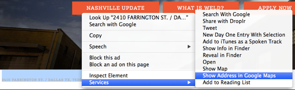 Quickly map an address in Safari.