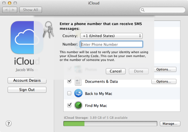 Adding a phone number for SMS alerts.