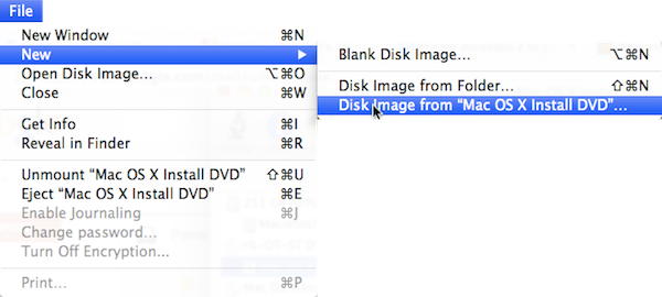 Select File-->New-->Disk Image from (Your System Disk Name) to rip the disk to your computer.