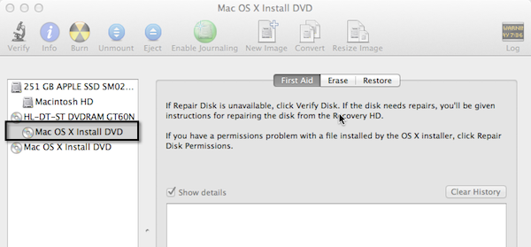 When you insert the system disk, it will be mounted in the left-side menu of Disk Utility.