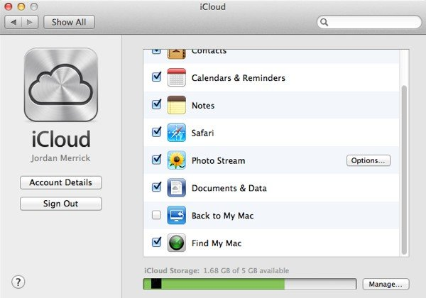 If you already have iCloud signed in, make sure the last option is enabled.