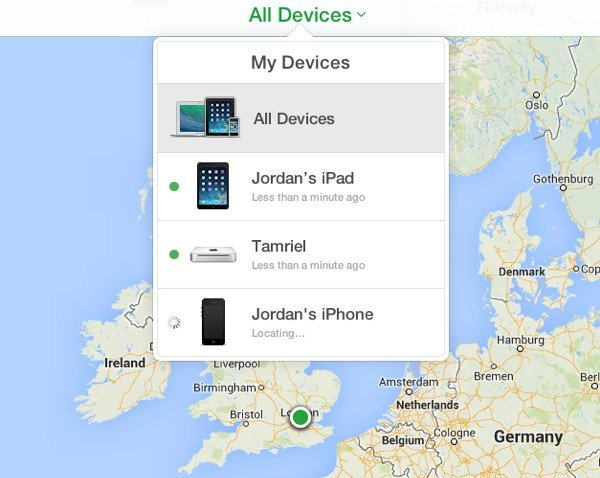 Find My iPhone will display all of your registered devices on a map.