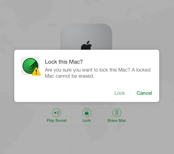 Remotely locking a Mac prevents all other functions from being used until it is unlocked.