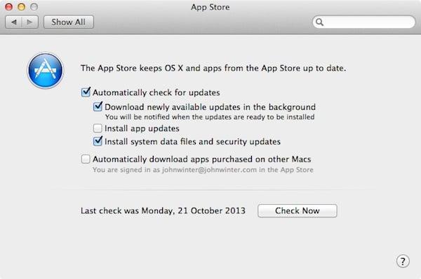 Mac App Store Preferences