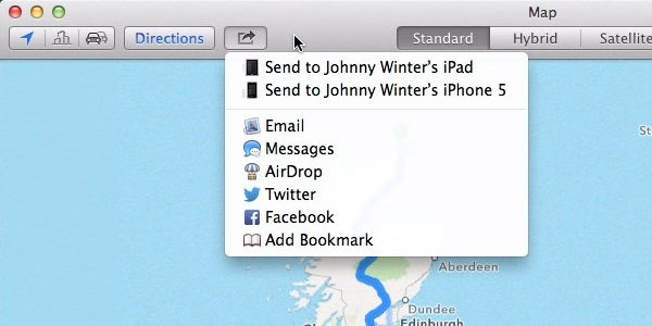 Sending a route plan to your iPhone or iPad