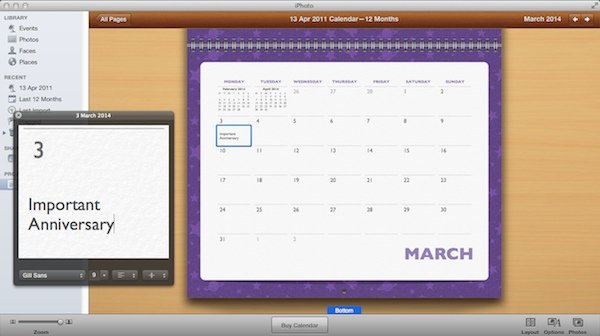 Adding special events on the calendar