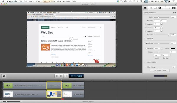 Creating cuts in Screenflow