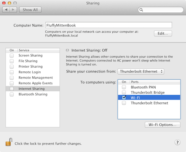 The Sharing pane of System Preferences.