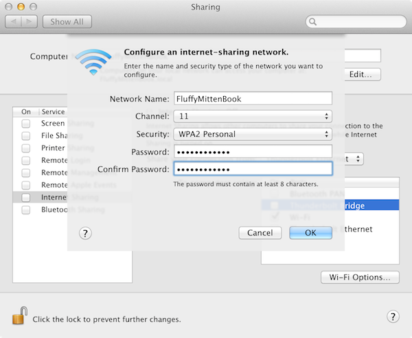Adding security settings to my wireless network.
