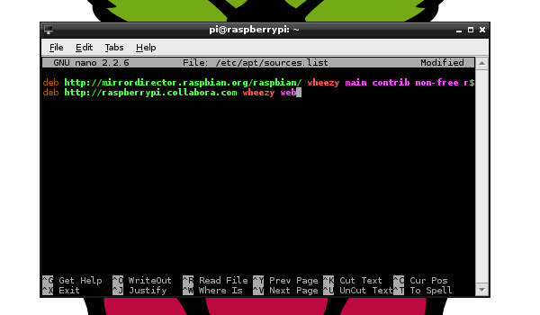 Configuring sources.list