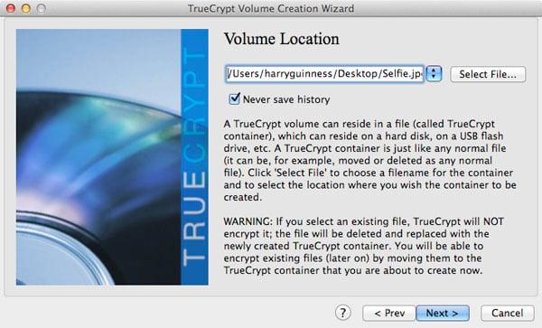 Setting the TrueCrypt volume's location