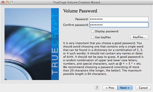 Setting the TrueCrypt volume's password