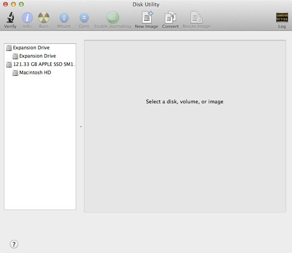 The Disk Utility application