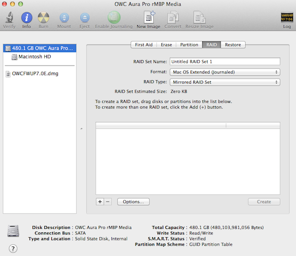 Setting up the RAID is easy in Disk Utility