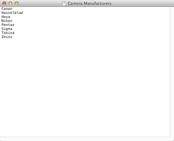 My list of camera equipment manufacturers