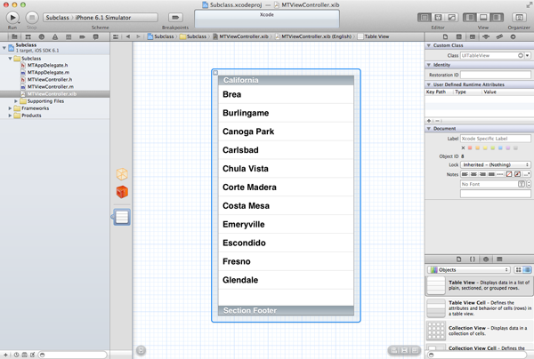 Customizing Table View Cells - Subclassing UITableViewCell - Configuring the View Controllers XIB File