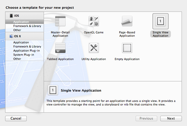 New in iOS 6: SKStoreProductViewController: Choosing a Project Template - Figure 1
