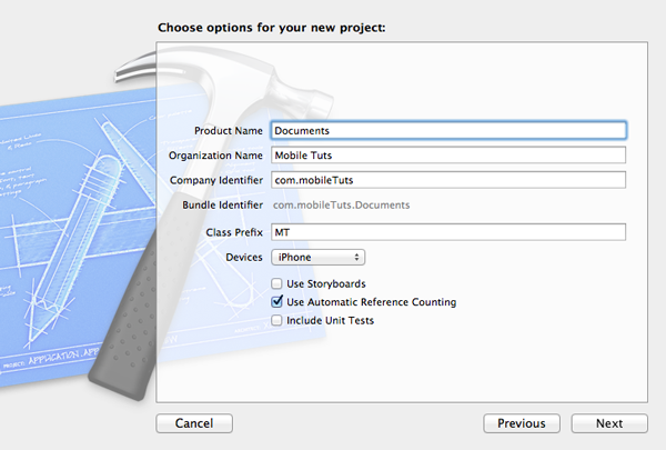 Previewing and Opening Documents with UIDocumentInteractionController: Configuring the New Project - Figure 2