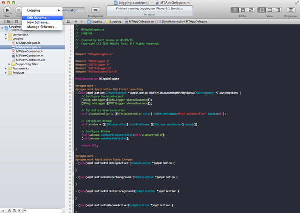 CocoaLumberjack: Logging on Steroids: Selecting the Active Scheme in Xcode - Figure 3