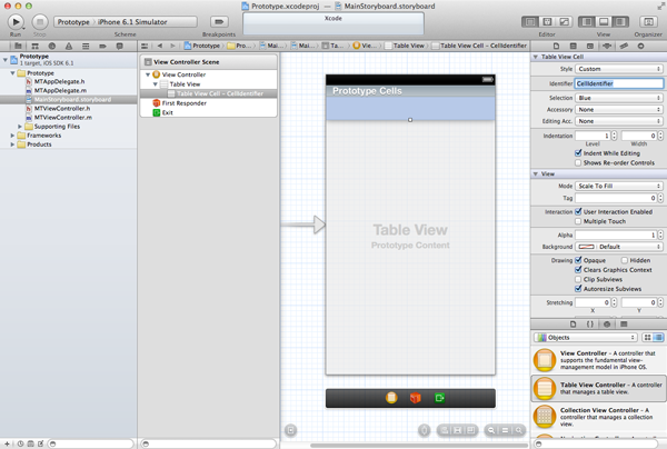 Customizing Table View Cells - Prototype Cells - Setting the Reuse Identifier of the Prototype Cell