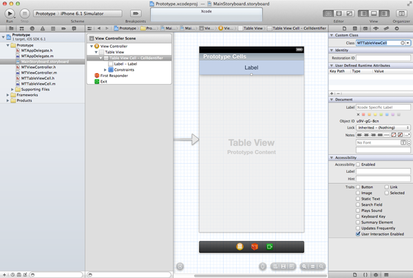 Customizing Table View Cells - Prototype Cells - Changing the Class of the Prototype Cell
