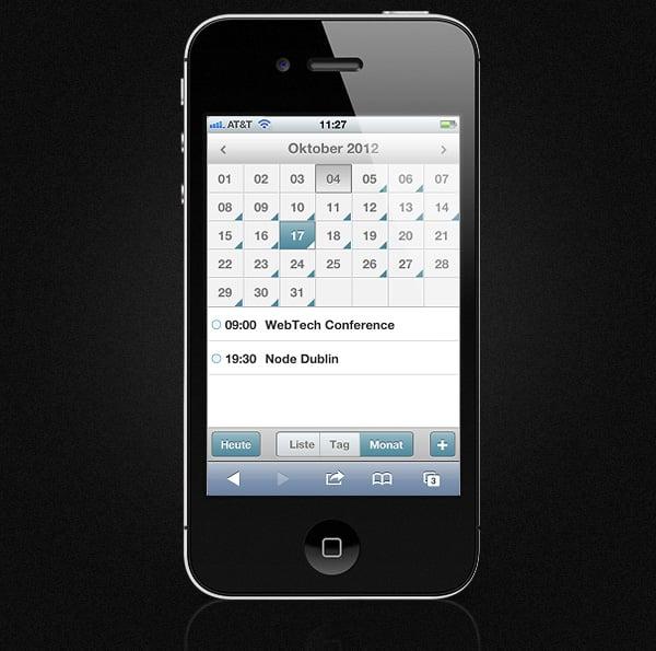 Mobile Event Calendar - German Locale
