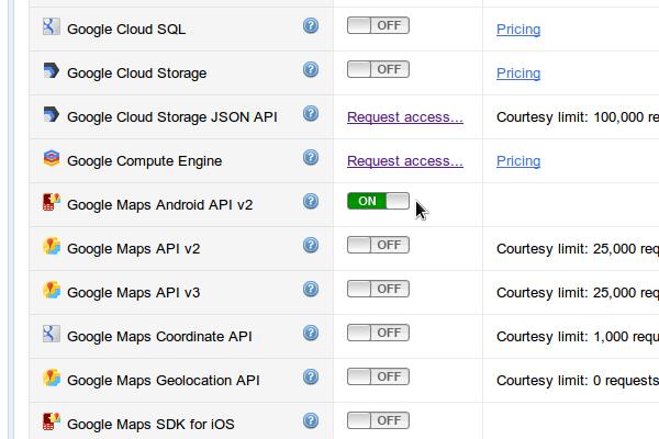 Switching Maps API On