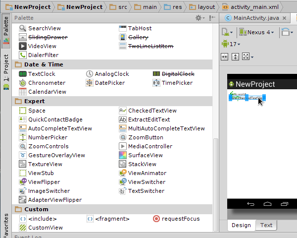 Android Studio Palette