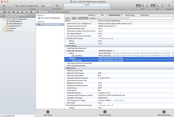How To Submit an iOS App to the App Store - Configuring the Targets Build Settings