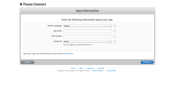 How To Submit an iOS App to the App Store - Specifying Name SKU Number and Bundle ID