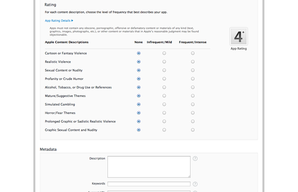 How To Submit an iOS App to the App Store - Entering Your Applications Metadata and Assigning a Rating