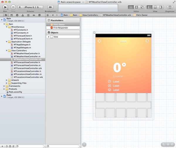 Create a Weather App with Forecast – User Interface - Creating the User Interface of the Weather View Controller