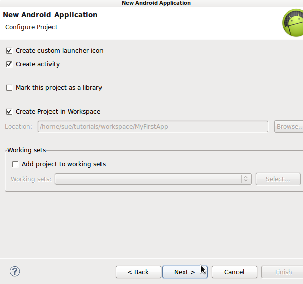 Configure Android Application
