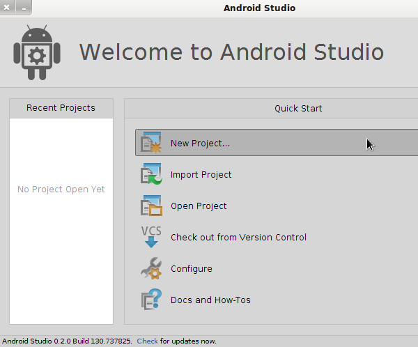 Android Studio Welcome