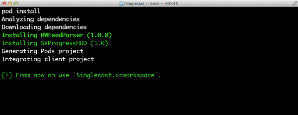 Install the project's dependencies using Cocoapods.