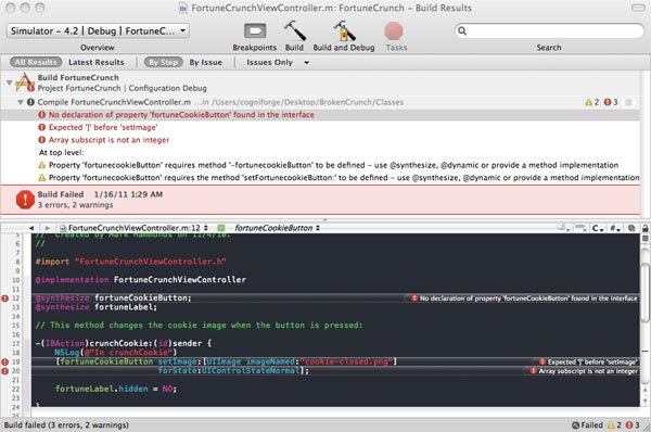Xcode Debugging Figure 1 - Build Results Listing