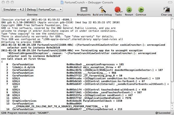 Xcode Debugging - Figure 3 - Console Window