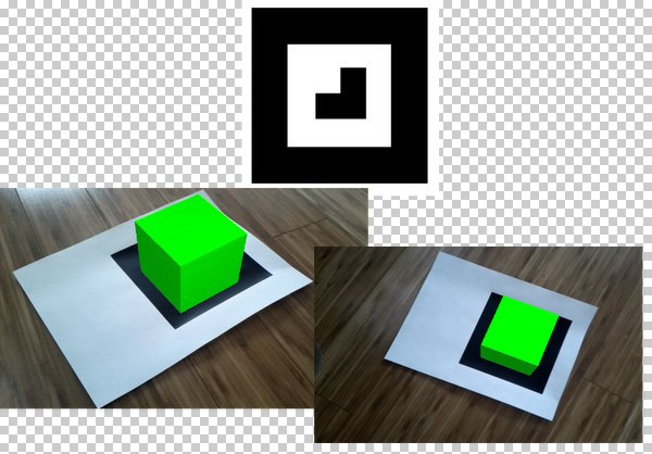 AndAR using marker to show a cube at different orientations and scale