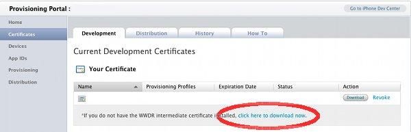 Apple iPhone WWDR Certificate