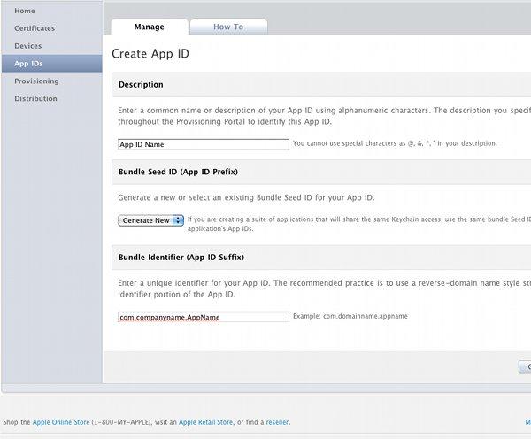 Apps on iPhone Create App ID