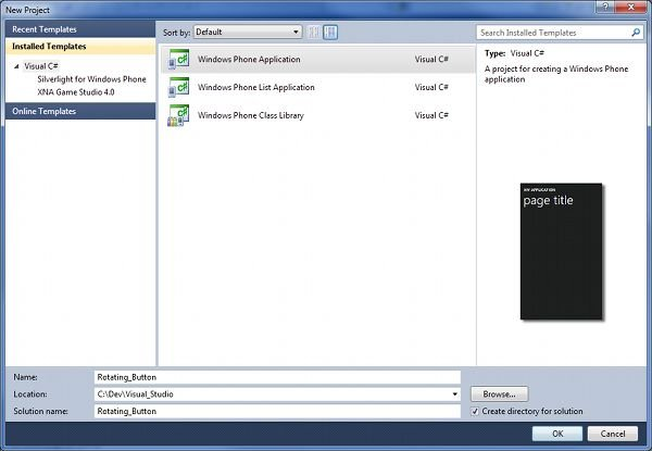 Creating a New Windows Phone 7 Project