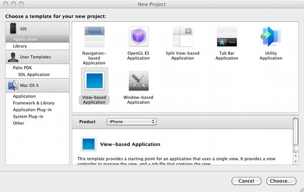 Selecting View-Based application tempalte