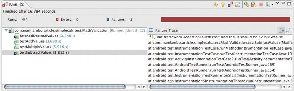 Junit Testing Examining the Test Results