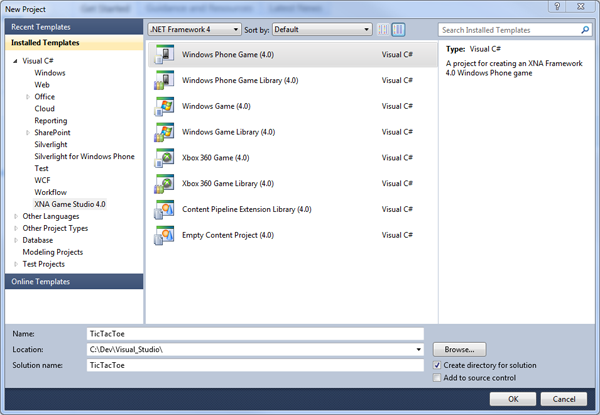 The Windows Phone 7 Game project creation dialog