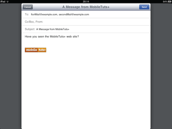 iPad mail interface