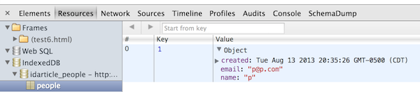 Chrome Dev Tools and IndexedDB