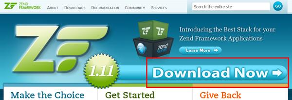 Zend Framework Download Now link
