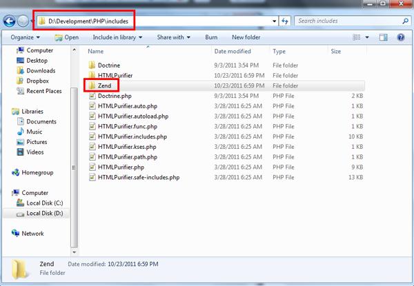 Zend folder location