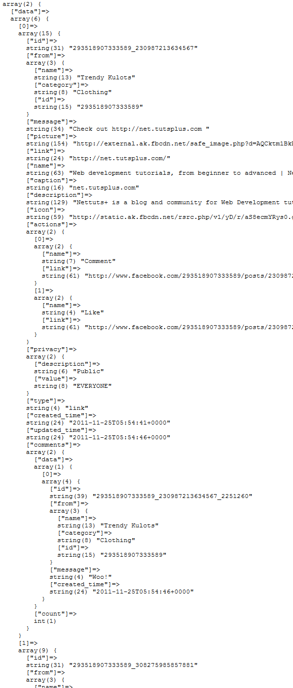 var_dump of the page_feed variable